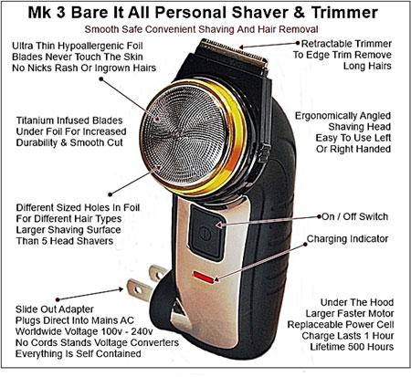 All in one electric pubic shaver and body hair trimmer by Bare It All
