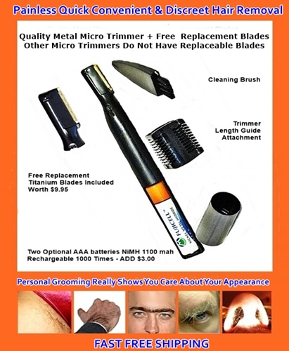 nose and ear hair easily removed with micro trimmer by Bare It All